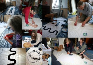 montage of photos of people making a 5 by 1 metre banner